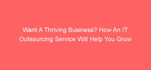 Want A Thriving Business? How An IT Outsourcing Service Will Help You Grow